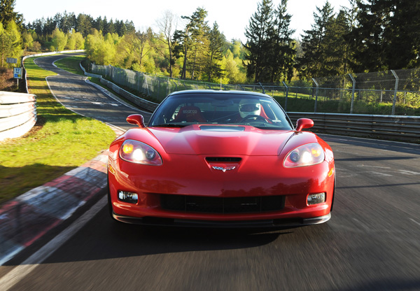 Corvette ZR1 rojo frontal