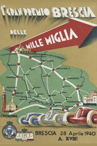 Cartel anunciador de la edición de 1940 de la Mille Miglia