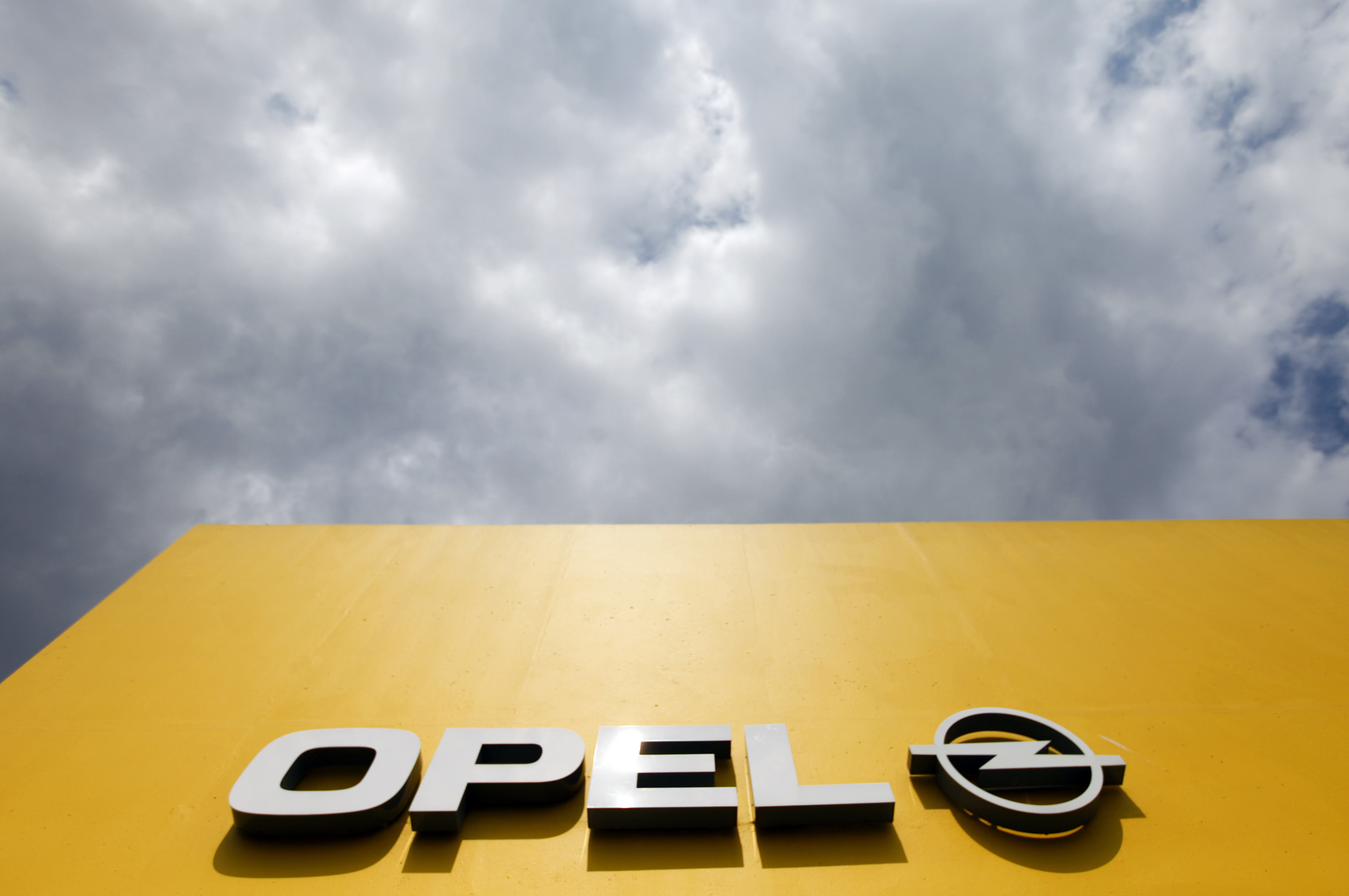 The logo of an Opel car dealer is pictured in Himmelkorn