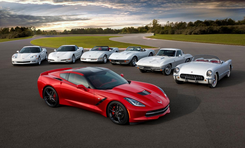 Siete generaciones del Chevrolet Corvette.