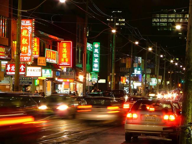 trafico china de noche