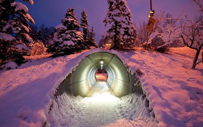 túnel de nieve