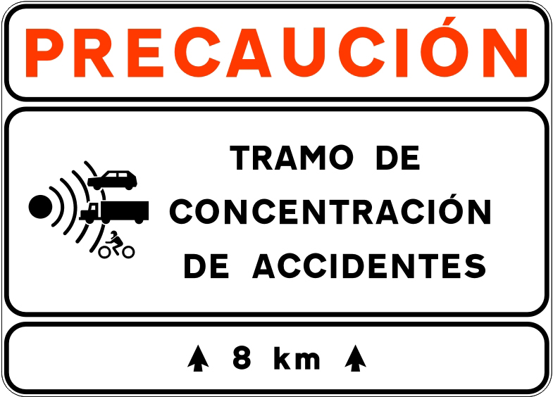 señal tramo concentración de accidentes