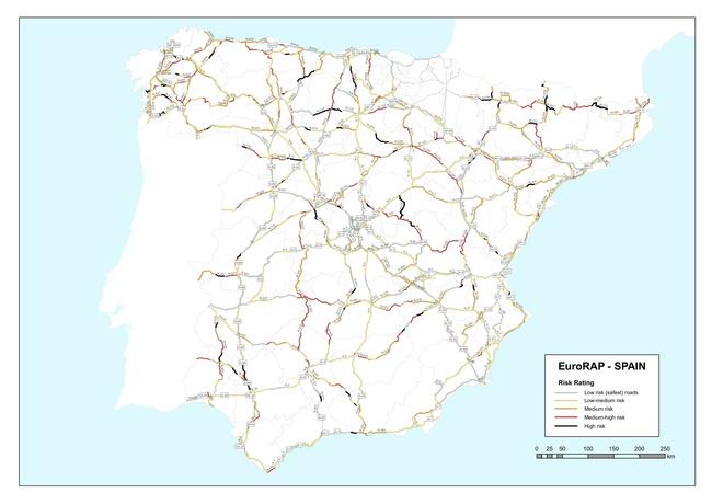 tramos de carretera con riesgo Spain