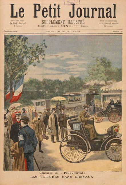 Le-Petit-Journal-1894-Paris-Rouen-Concours-des-Voitures-sans-Chevaux-Worlds-1st-motor-car-race-France-front-page-old-newspaper-Peugeot-driver-Louis-Rigoulot