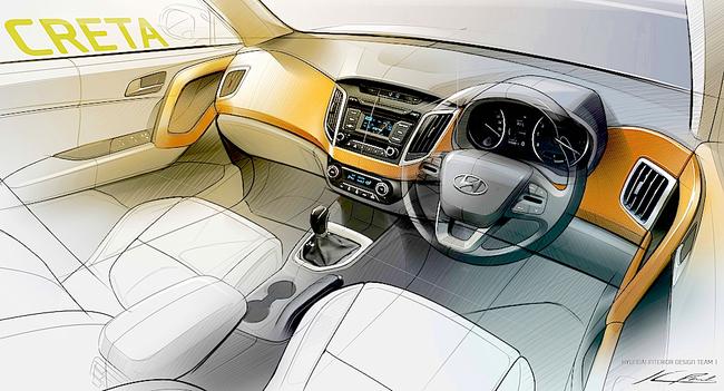 Hyundai Creta 2015 interior boceto