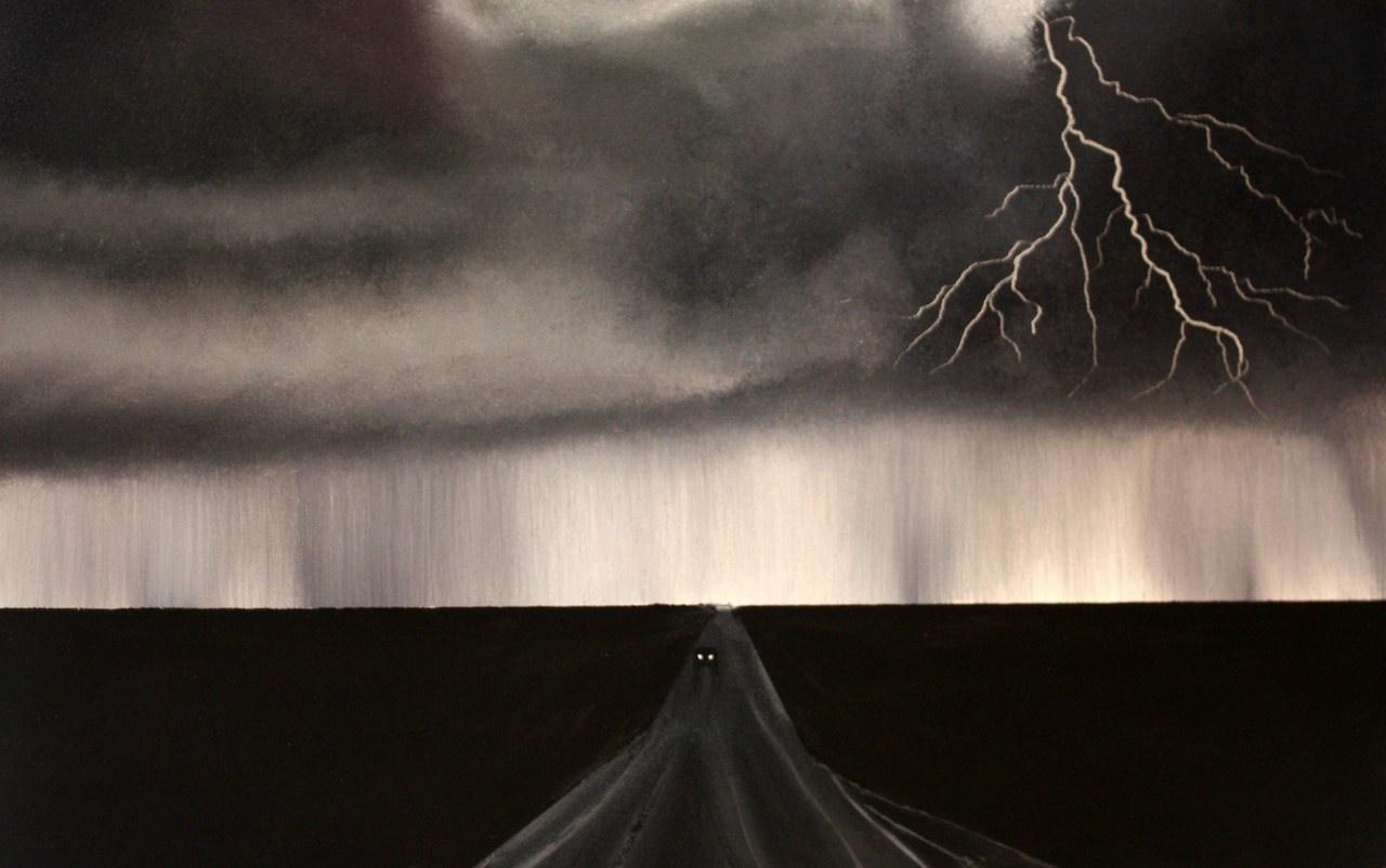 coche huida tormenta rayo
