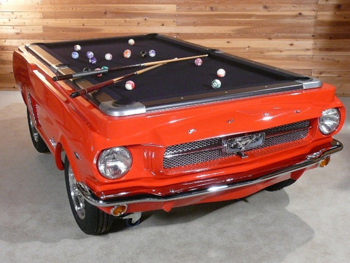 The body of the Ford Mustang pool table is molded from an actual 1965 Mustang body shell.