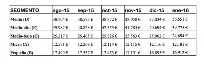evolucion precios segmentos enero 2016