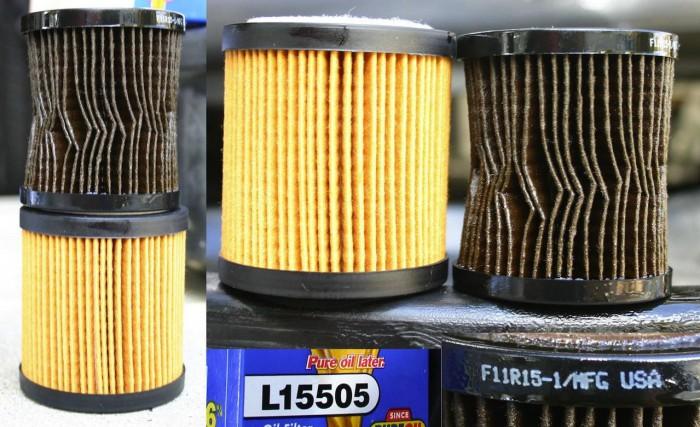 filtro de aceite nuevo y usado