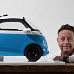 Wim Ouboter, Gründer der Micro Mobility Systems, mit einem Modell des geplanten Elekromobils, aufgenomman am 19. August 2015 in Küsnacht.  © Michele Limina