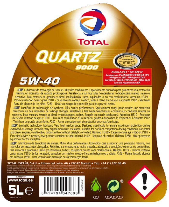 etiqueta trasera aceite coche