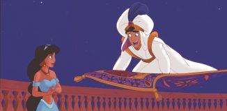 Aladdin sobre una alfombra voladora