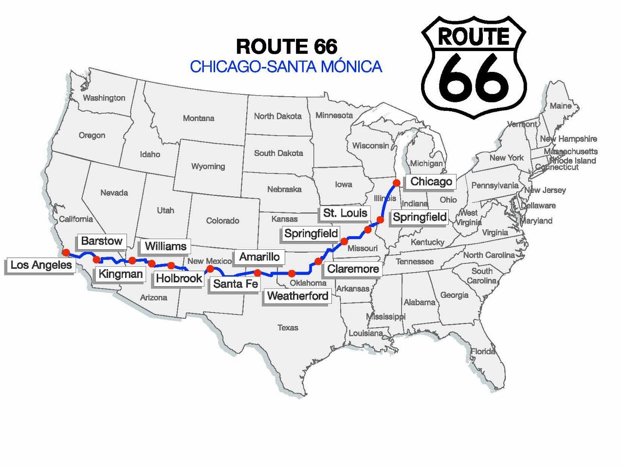mapa de la Ruta 66