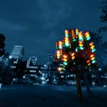 Fotogragía de la escultura de Pierre Vivant, llamada Traffic Light Tree (árbol semáforo) en the Docklands, Londre