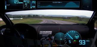 interior del coche de Subaru que ha roto el record de la vuelta más rápida a la isla de mann
