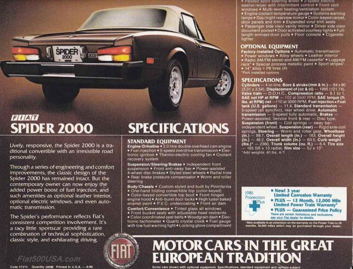 Fiat Spider 2000 1982 anuncio