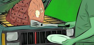 Cocinando la cena en el coche