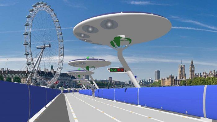carril bici flotante en Londres
