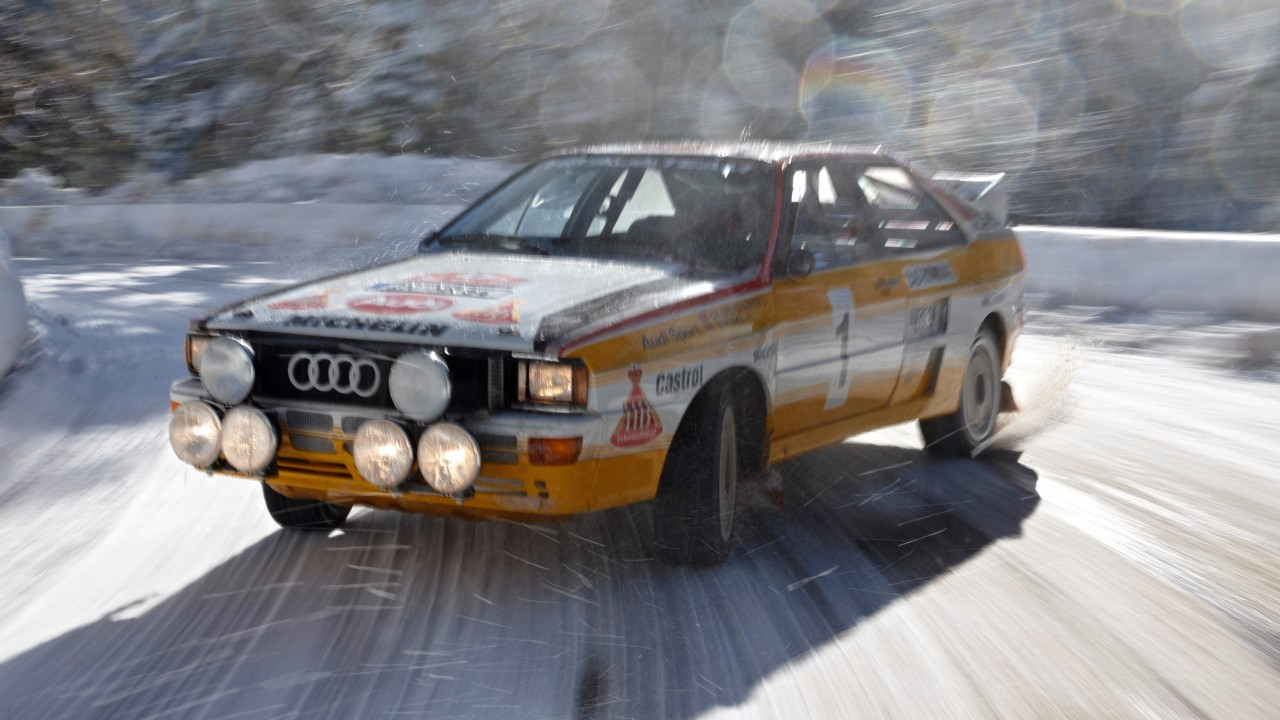 Walter Ršhrl im Audi Quattro A2 Rallye am Col de Turini