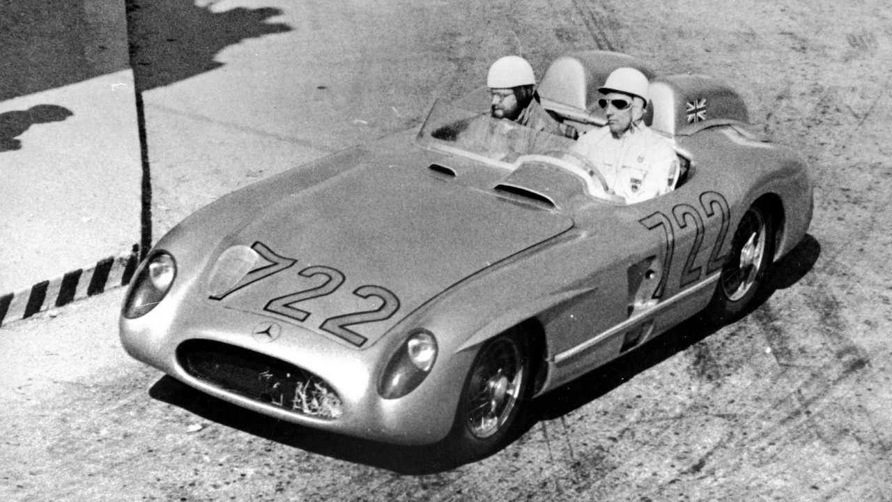 Mille Miglia, Brescia in Italy, May 1, 1955. Stirling Moss and Denis Jenkinson won the race in a Mercedes-Benz 300 SLR racing sports car.